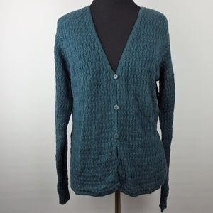 Eileen Fisher Green Linen Cardigan Sweater Small
